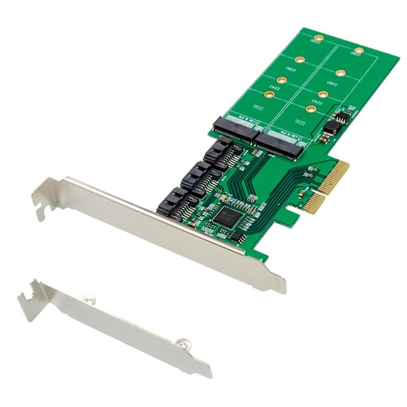 كرت توسيع PCI-E إلى SATA PCI-E X4 JMB585 M.2 مفتاح B + SATA 3.0 NGFF 6G بطاقة تحويل قرص صلب