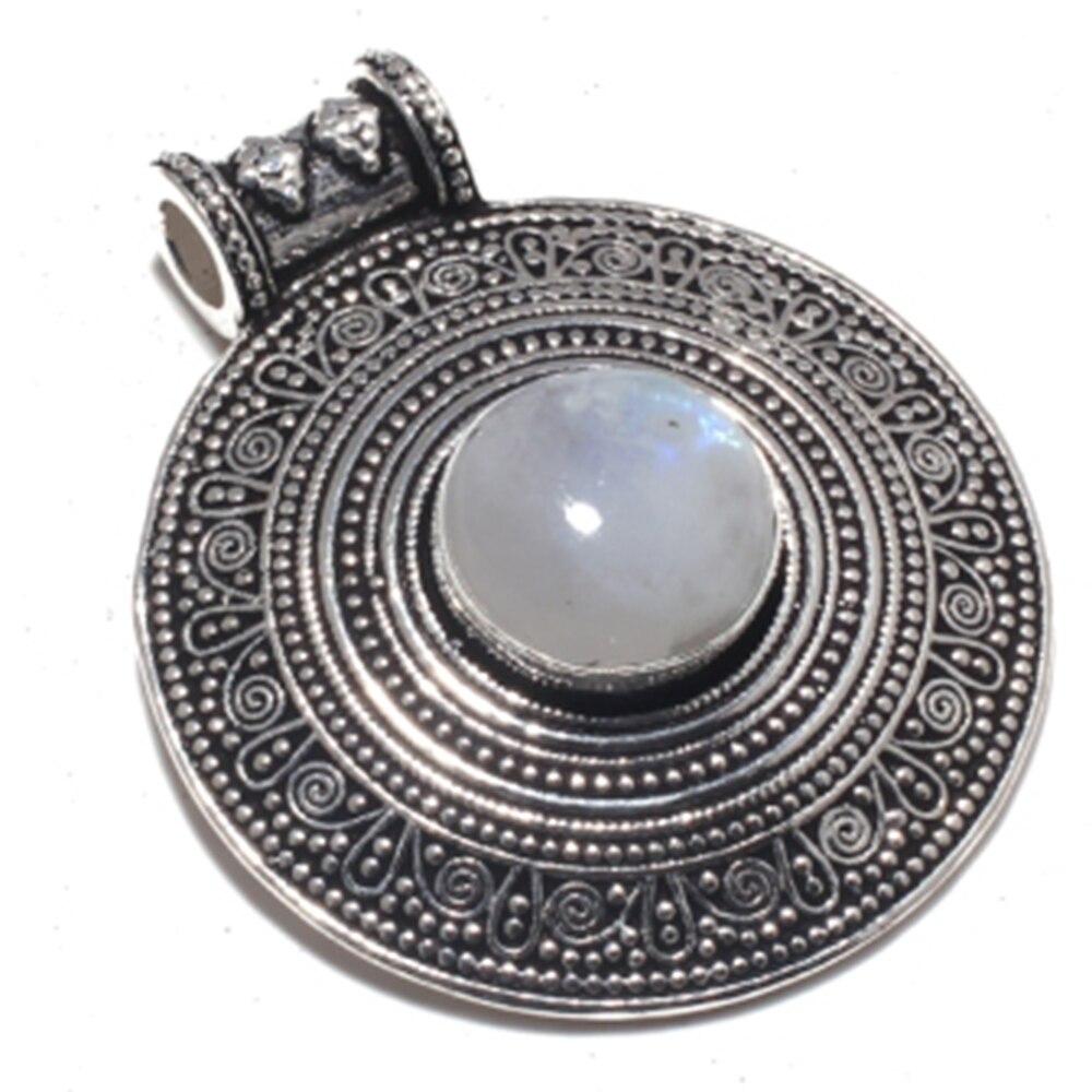 Genuine moonstone pingente de prata sobreposição sobre jóias de cobre, feito à mão presente de jóias femininas, p8893