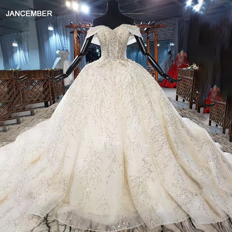 HTL1921-فستان زفاف مطرز بالترتر ، أكمام قصيرة ، ثوب كرة مزين بالكريستال ، 2020