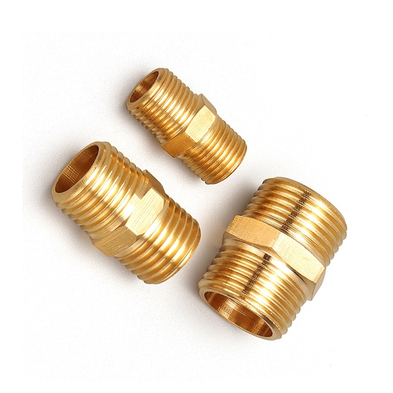 brass pipe hex nipple fitting quick adapter 1 8 1 4 3 8 1 2 3 4 1 bsp male thread water oil and gas connector Brass Pipe Hex Nipple Fitting Male to Male Thread Water Oil Gas Connector Quick Coupler Adapter 1/2 3/4 1 BSP