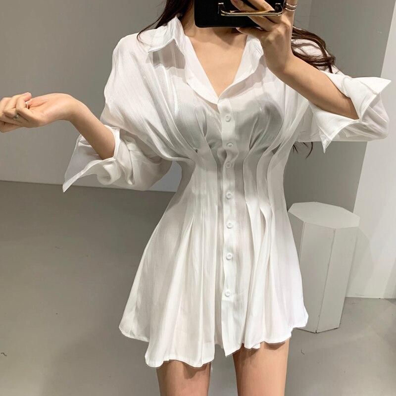 Camisa de satén vestido vendaje plisado transparente Mini blanco elegante manga larga Sexy fiesta elegante negro primavera bata rosa Mujer