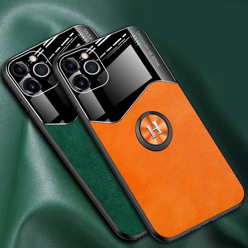 Case para Iphone 5 11 Pro Max X XR XS Max 8 7 6 S Plus SE 2020 Couro PU Anel Magnético Suporte Do Carro Completa Tampa Traseira Shell Fundas