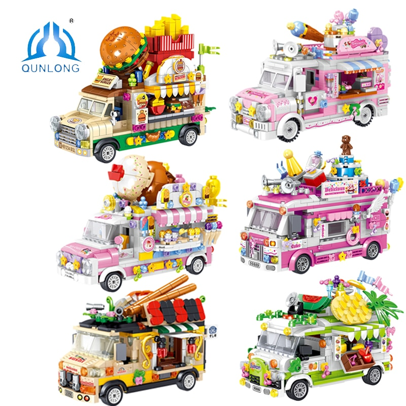QUNLONG Friends For Girl Food Truck Ice Cream Shop Hamburger Store City Street View Building Blocks Bricks Friends Car Toys Gift 280 pcs mini city street view building blocks coffee shop hamburger store city diy bricks toys for children christmas gifts