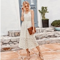 lace dress 2021 sexy v neck lace hollow fashion high waist a line suspender solid dress party dating office summer long dress c