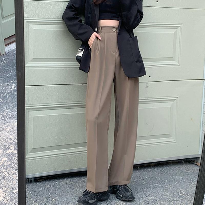 High Waist Pants Spring And Autumn Loose Straight Tube Wide Leg Pants 2021 New Slim Casual High Wais