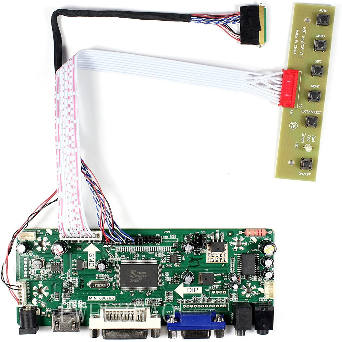 New HDMI+VGA+DVI+Audio M.NT68676 Control driver Board for 15Inch B156HW01 V0 V1 V2 V7 V6 V5 V4 V3 1366X768 LCD Screen panel