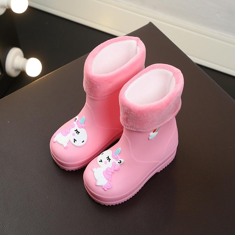 New Children Rain Boots For Girls Rubber Rainboot Boys Baby Girl Pvc Warm Kids Waterproof Shoes Modis Cartoon Unicorn Removable