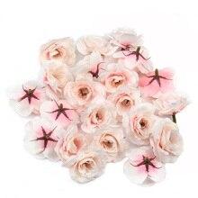 10 pièces 4cm artisanat soie artificielle Rose têtes de fleurs pour noël mariage décoration bricolage couronne Scrapbooking artisanat fausse fleur