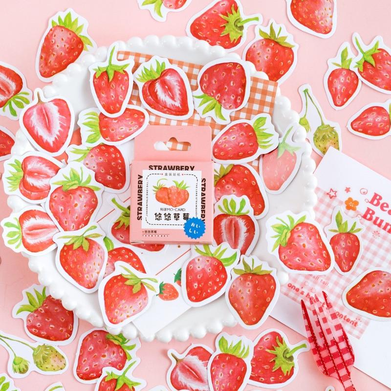 45-pz-pacco-fragole-cibo-adesivi-decorativi-per-la-fabbricazione-di-carte-busta-sigillo-diario-scrapbooking-journal-laptop