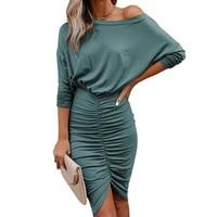 2021 autumn stitching folds womens dress cotton bat sleeve round neck solid color sexy bag hip slim mid length dresses vestidos