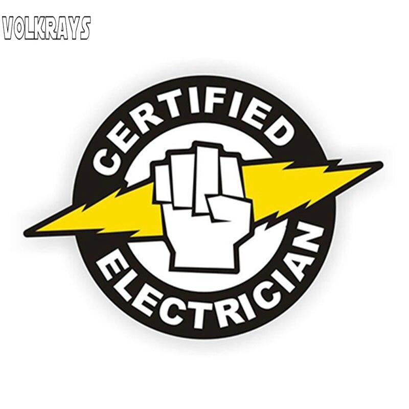 Volkrays creativo eléctrico de alta tensión coche pegatina certificado electricista casco calcomanías accesorios de vinilo, 12cm * 8cm