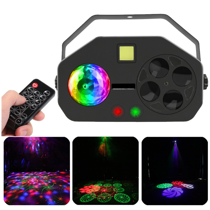 Led Disco Party Light Remote RGB 4 IN 1 LED Gobo Strobe Magic Ball Laser Project DMX Stage Lighting Effect DJ Holiday Wedding