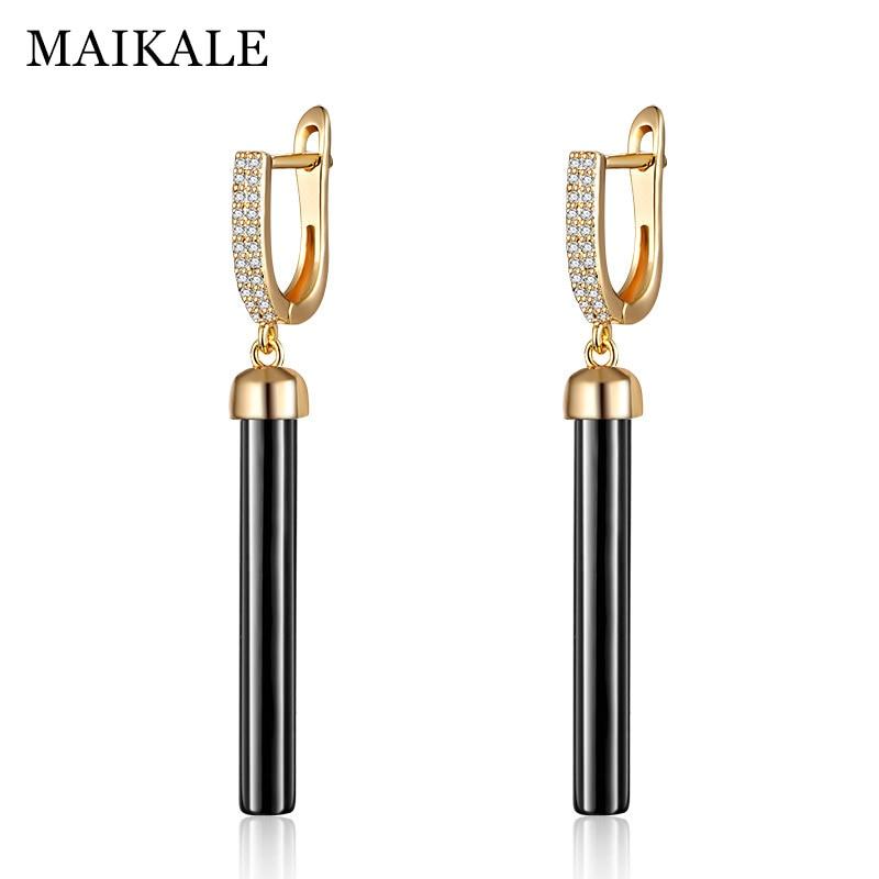 MAIKALE New Fashion Drop Earrings Copper AAA Cubic Zirconia straight lin Black White Ceramic Gold  Earrings For Wonen Gift