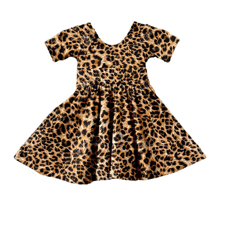 2020 europa e os estados unidos novo verão crianças roupas de leopardo impressão do bebê meninas vestido menina do miúdo vestidos festa princesa