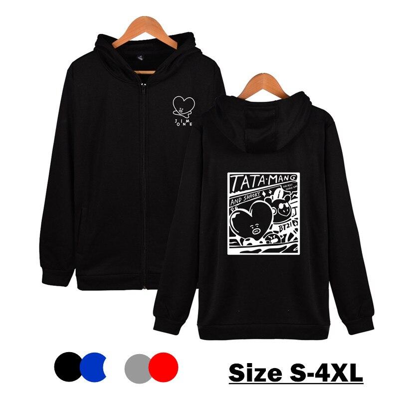Hot Kim Tae Hyung Printed Zipper Hoodie Men Casual Sport Hooded Zipper Sportwear Teens Students Sport Sweatshirt Pullovers Top wholesale link for astro game tae kim