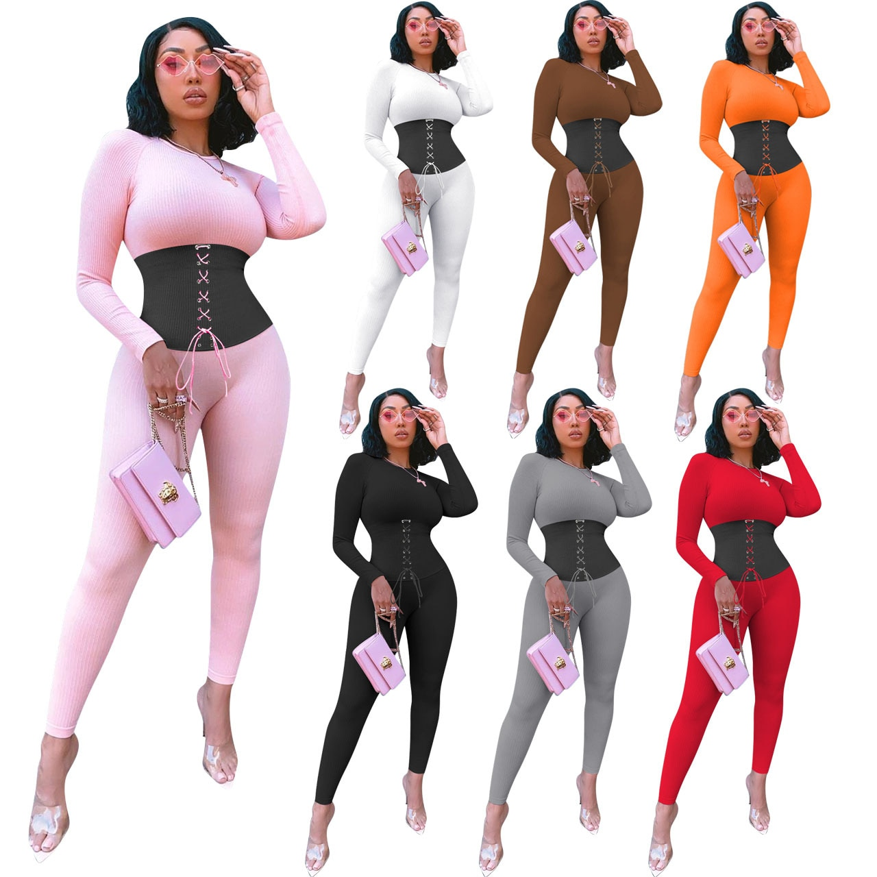 Ribbing Bandage Solid Color Patchwork Sports Fitness Women Suits Long Sleeve Round Neck Autumn Casual Simple Two Piece Set