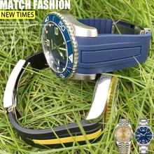 Bracelet de montre en Silicone à Interface incurvée 19/20/21/22mm bracelet de montre de Style nouveau pour montre Rolex Daytona Submariner deep sea GMT Longines