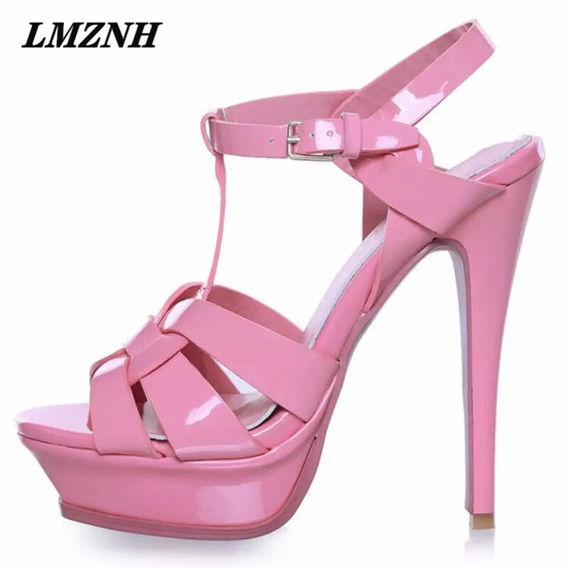 2021 Fashion Spring Summer New Women Shoes European American Cow Patent Leather Stiletto Platform Rome Fish Mouth Women's Shoes