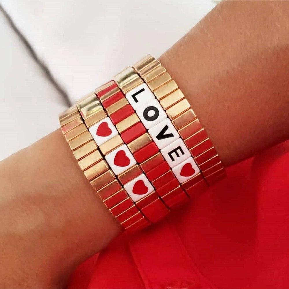 Shinus pulseira femme ouro cor pulseiras mulheres jóias masculino pulseras mujer moda 2020 carta braçadeira esmalte telha contas jóias