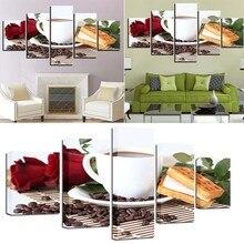 الموضة الرسم على لوحات القماش الجدارية 5 قطع جميلة القهوة قاعة غرفة لا مؤطرة قماش طباعة اللوحات الزخرفية الديكور هدية