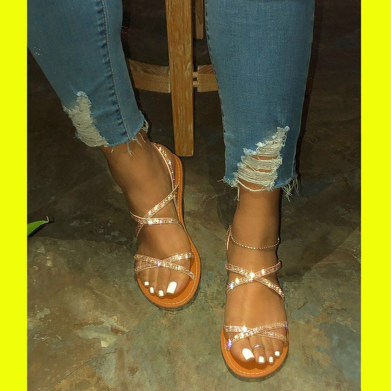 2020 Women fashion Sandals Plus Size Flats ladies Sandals For Summer Shoes Woman Peep Toe Casual Shoes flat Sandalias Mujer