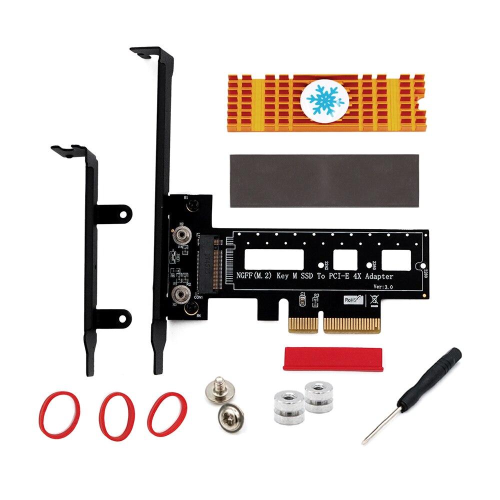 M.2 الناهض مجموعة من البطاقات M.2 NVME NGFF مفتاح م إلى PCI اكسبرس 4X المضيف PCIe محول بطاقة مع المبرد لماك ويندوز لينكس