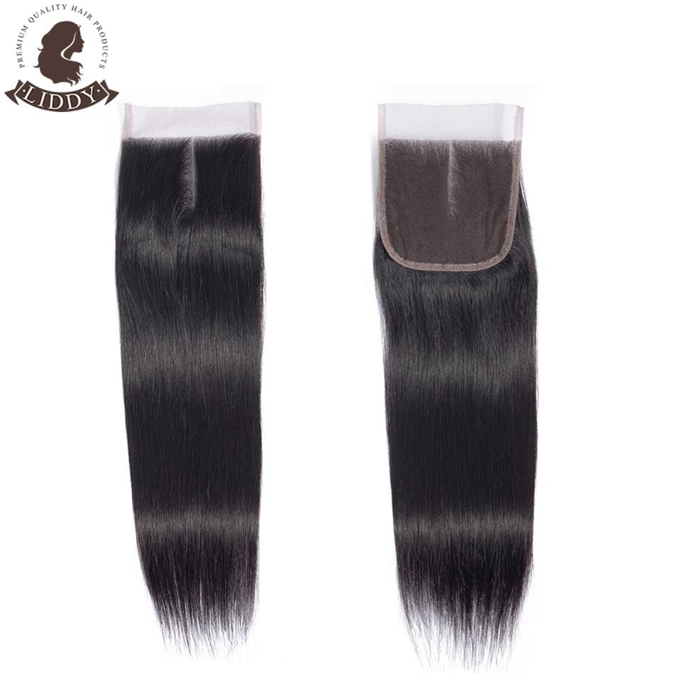 Liddy 4x4 Lace Closure 100% Human Hair Straight Closure Brazilian Hair Weaving Natural Color Non-rem