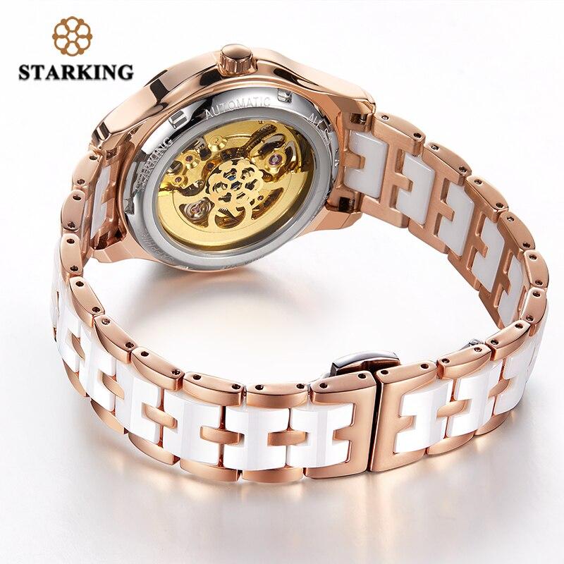 STARKING Top Brand AAA Quality Rose Gold Ceramic Watch Women Charming Skeleton Wristwatch Mechanism Ladies Gift Relogio Feminino enlarge