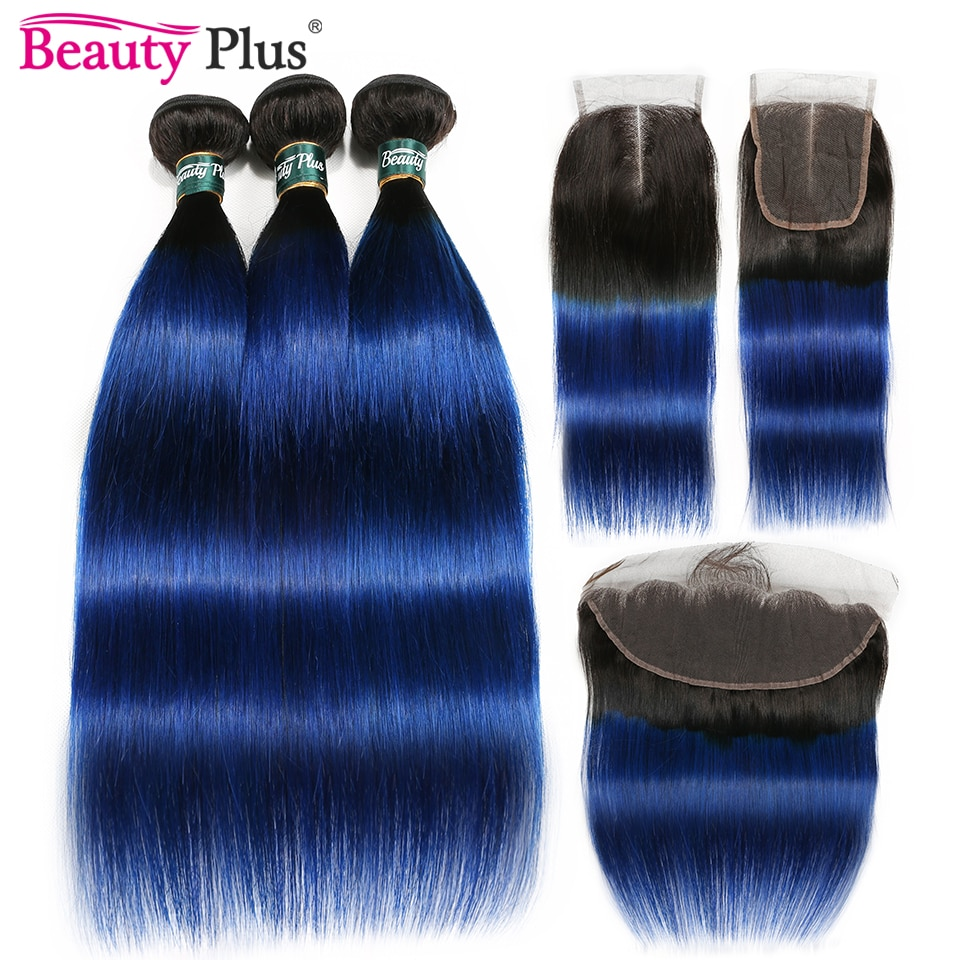 Blue Bundles With Closure Ombre Straight 3 Bundles With Lace Frontal Ear To Ear Dark Black Roots Remy Brazilian Human Hair Pack