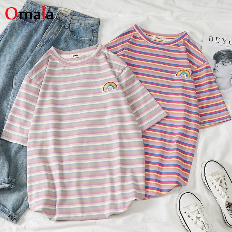 student t shirt korean clothes female kawaii Rainbow stripes t-shirts harajuku 2020 graphic tees women ulzzang Casual O-neck top