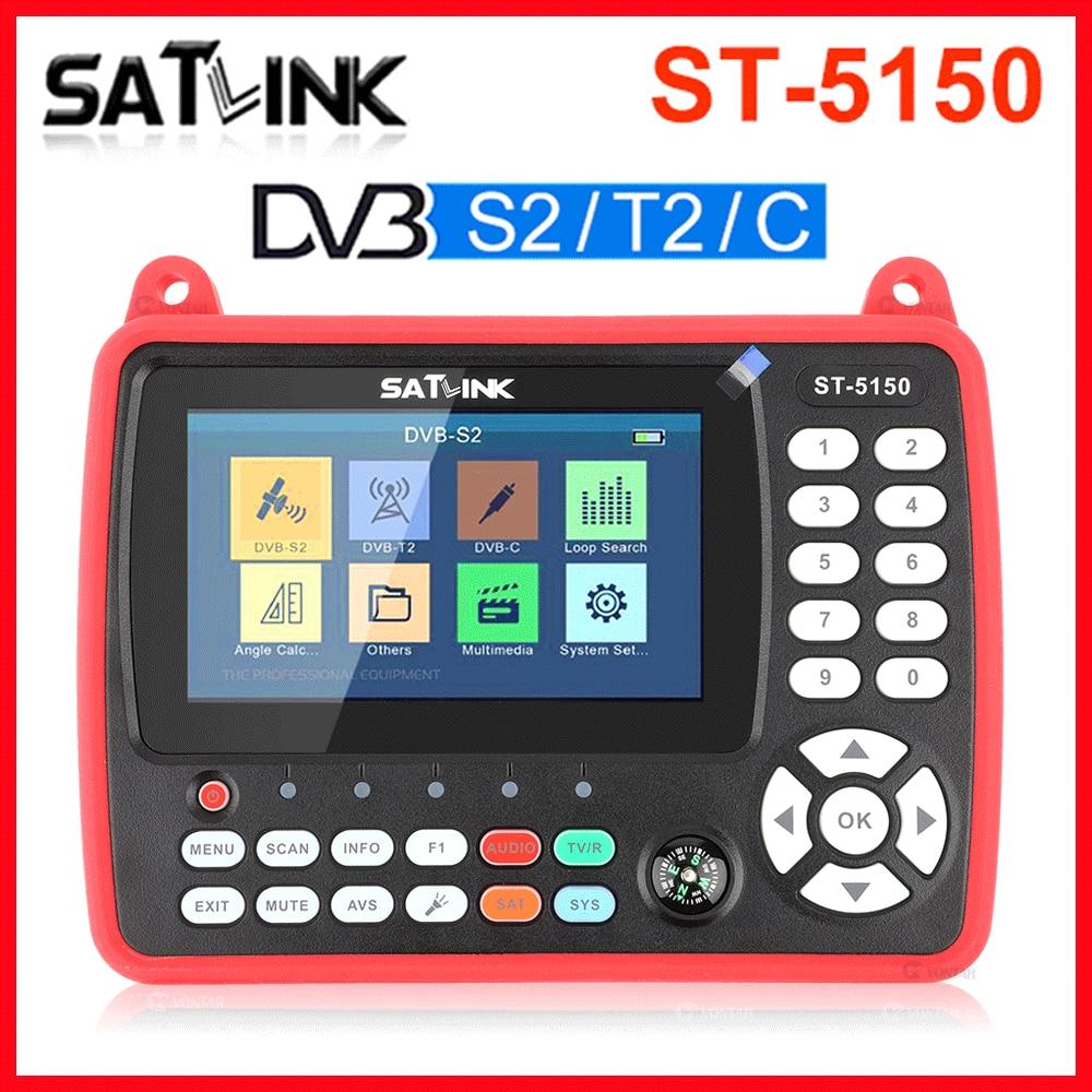 الأصلي SATLINK ST-5150 DVB-S2/T2/C كومبو HD الفضائية مكتشف متر H.265 HEVC MPEG-4 QPSK 8PSK 16 16apsk 4.3 بوصة TFT LCD شاشة