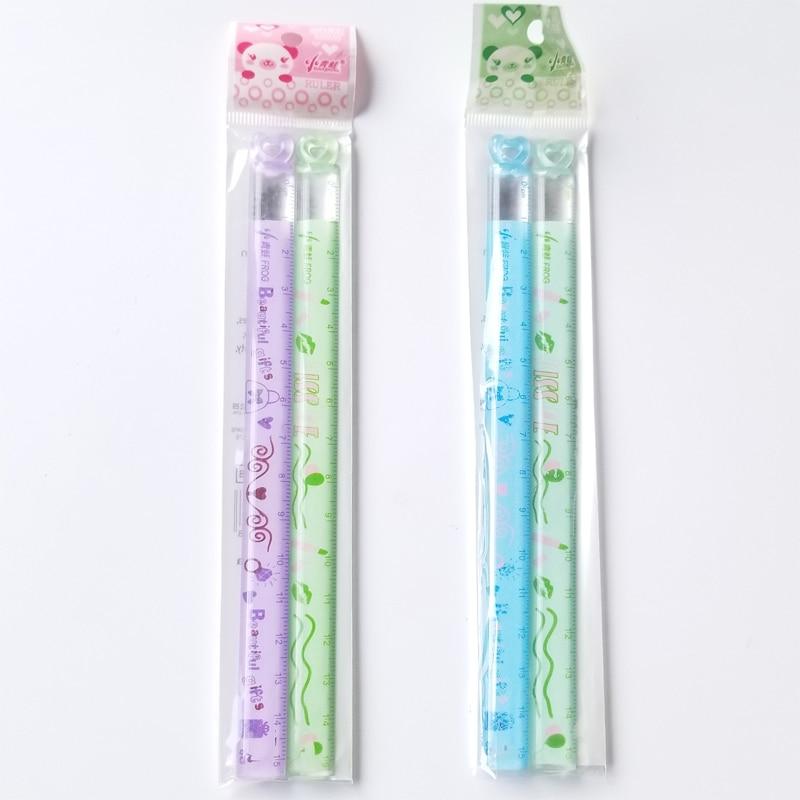 Mini régua de amor para crianças, 2 pçs/lote, aprendizado, bom ajudante, 15 cm, desenho animado, régua reta, estudo, medida