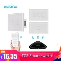 Broadlink TC2 1 2 3Gang 433MHZ Connection Wall Touch Panel Light Switch Remote Control US Standard For Smart Home System 2019New