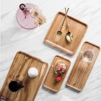 solid wooden serving tea tray rectangle square japanese style fruit cake dishes food storage plate bbq snack pan kitchen platter