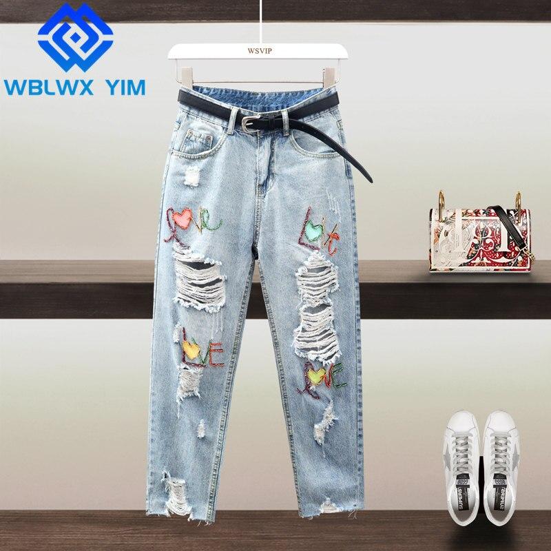 بنطلون جينز نسائي عالي الخصر مزين بالخرز ومزين بالخرز للنساء مقاس كبير جينز مستقيم من قماش الدنيم مع حزام ربيعي