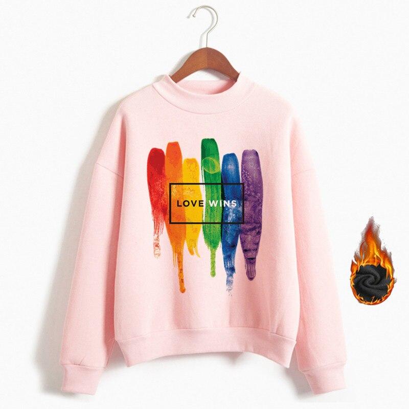 Women Pride Lgbt Love Win Hoodies Sweatshirts Female Harajuku Love Is Love Hoodies Girl Gay Love Lesbian Rainbow Clothes