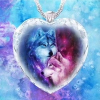 wolf couple pattern necklace for woman crystal glass series fashion elegant woman necklace pendant birthday gift for woman
