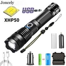 6000 Lumen LED Flashlight USB Rechargeable Torch XHP50 Waterproof Zoom outdoor lighting flashlight 26650 18650 Battery