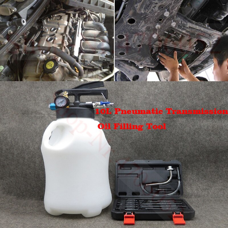 10L Pneumatic Transmission Oil Filling Tool Fluid Extractor Dispenser Refill Pump Tool Kit With 13pcs ATF Adaptor