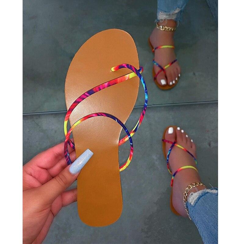 2020 verão novas mulheres sapatos de moda casual ao ar livre chinelos de praia confortável flat bottomed toe sandálias femininas plus size 37-42