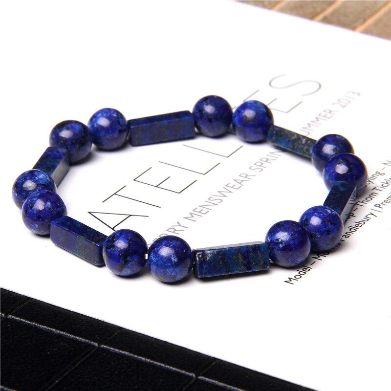 Bracelets en pierre naturelle hommes femmes Lapis lazuli cylindre Bracelet cuboïde Bracelet fait à la main Reiki Yoga breloque Bracelet élastique bijoux