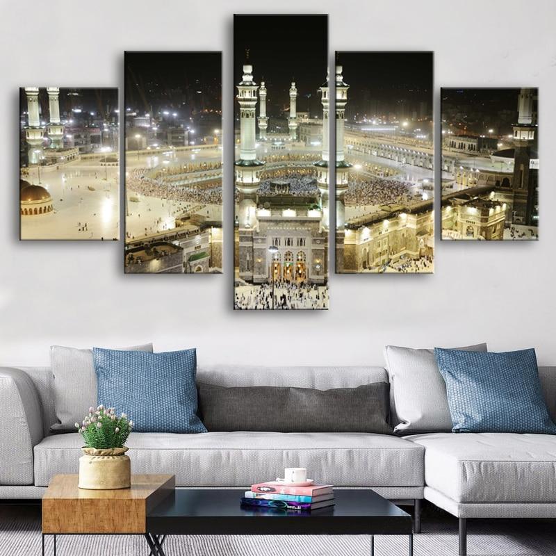 La Meca mezquita islámica arte de pared de 5 piezas de lona impresión arte pinturas de paisaje de lienzo pared carteles impresiones Home Decor No Fram