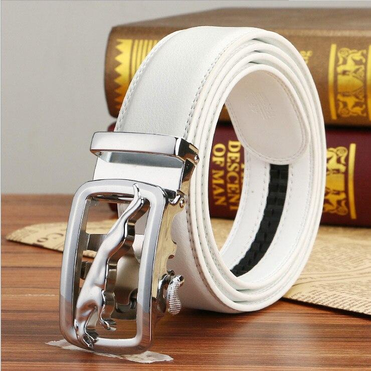 Cinturones de cuero genuino de marca famosa para hombres, correa de lujo para hombre, hebilla de cinturón blanco, Fancy Vintage Jeans, Cintos Masculinos, Ceinture Homme