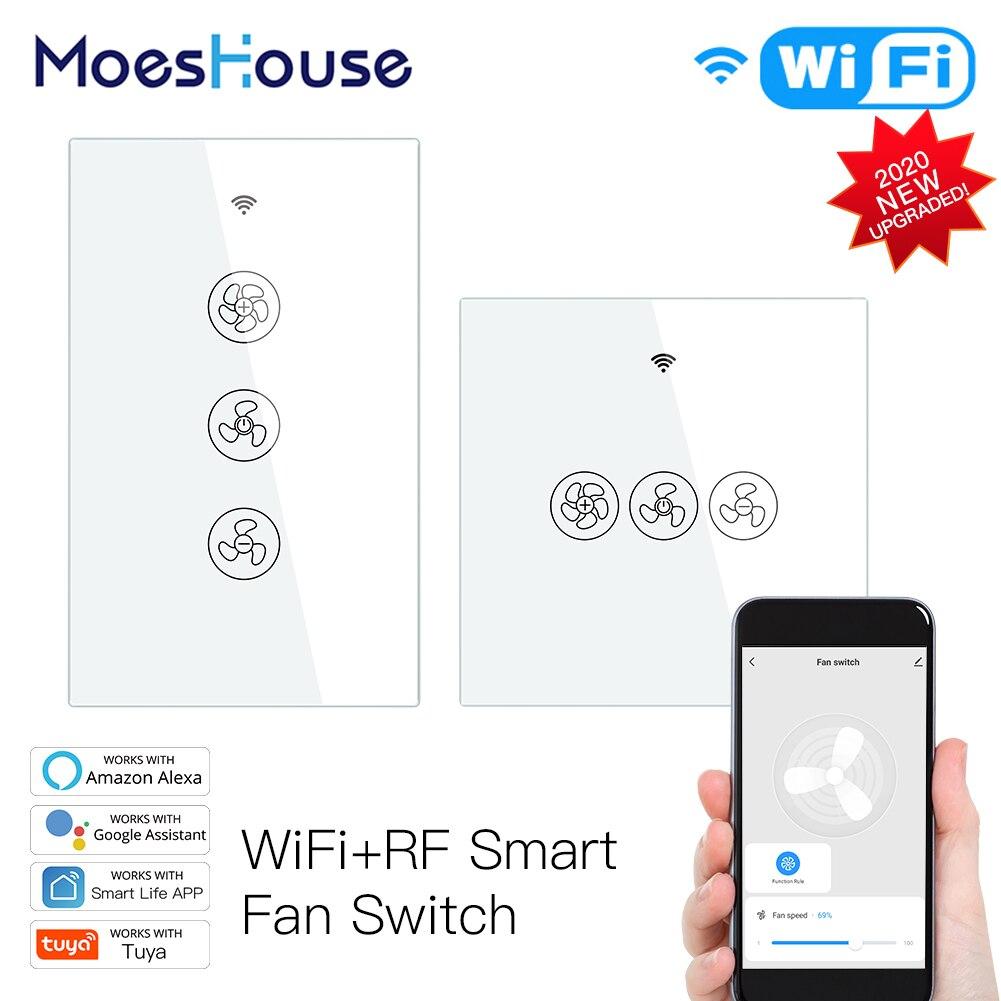 MoesHouse WiFi الذكية السقف مروحة التبديل الذكية الحياة تويا التطبيق RF433 عن بعد الموقت و سرعة التحكم يعمل مع اليكسا جوجل المنزل