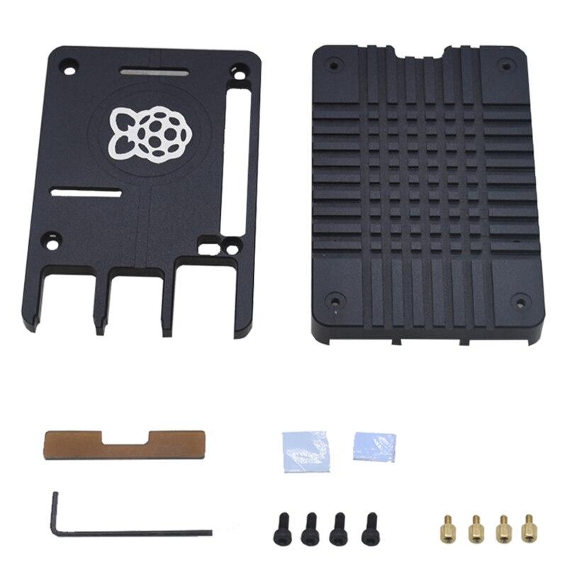 Carcasa para Raspberry Pi 4, carcasa de refrigeración pasiva de Metal de aleación de aluminio ultrafina CNC, funda de disipador de calor Compatible con Pi 4B