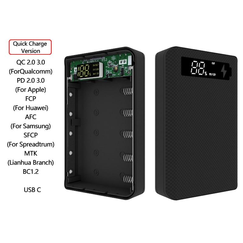 5*18650 Power Bank Fall Dual USB Mit Digital Display Bildschirm Handy Ladegerät DIY Shell 18650 batterie Halter lade Box