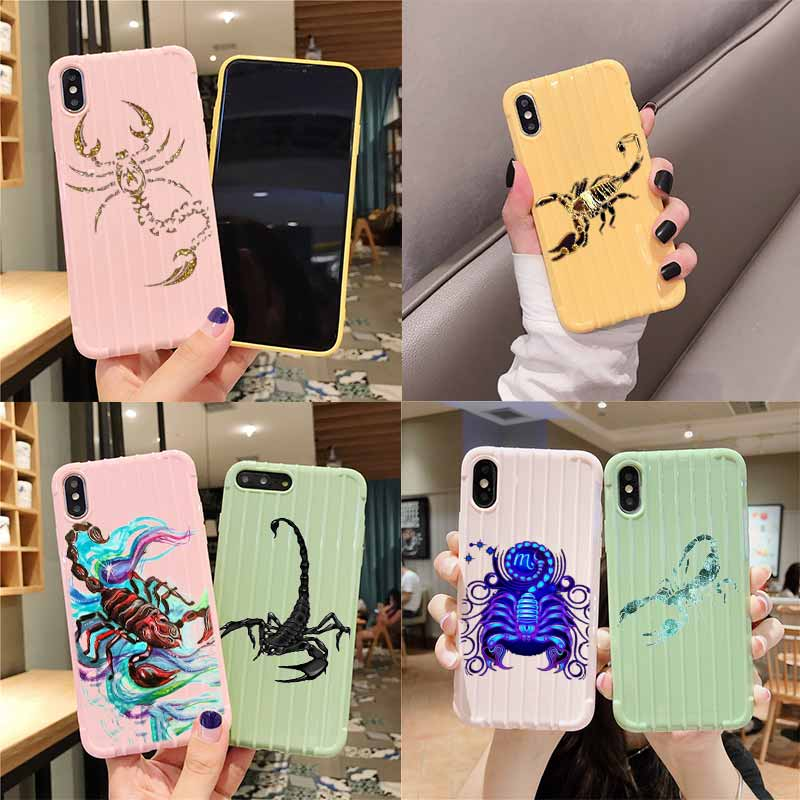 Animal caranguejo escorpião bonito trole mala textura caso do telefone iphone 11 pro max x xs max 8 7 6s mais bonito doces cor embalagem