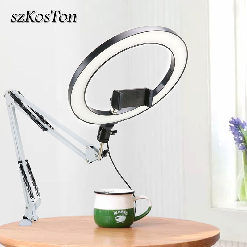 عكس الضوء LED Selfie مصباح مصمم على شكل حلقة 3 لون دافئ الباردة مصباح مع مكتب طويل الذراع حامل هاتف حامل التصوير ضوء لاستوديو الصور