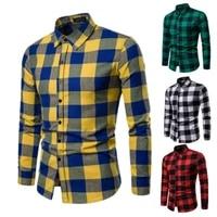 mens plaid long sleeve shirts business dress shirt tops slim fit formal shirts