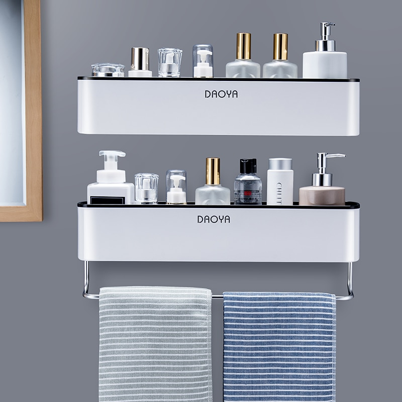 2PCS/Set Bathroom Shelf Shower Caddy Organizer Wall Mount Shampoo Rack With Towel Bar No Drilling Kitchen Storage Accessories